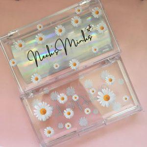 White flower eyelash packaging case custom