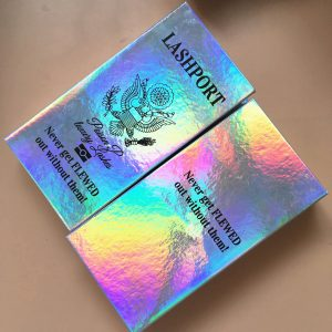 Holographic eyelash packaging custom lash boxes wholesale passport cases